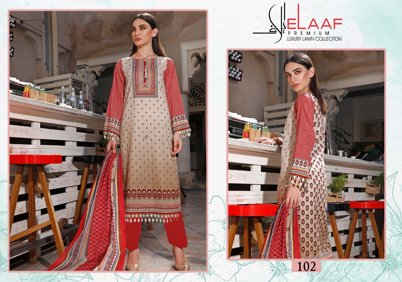 Elaaf Iman Luxury Lawn Collection Series 101-110 Cotton Daily Wear Suits