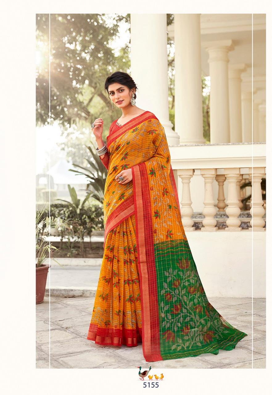 Vinamra Corporation Sangini Vedanta Silk Vol 2 Casual Wear Cotton Zari Checks Saree