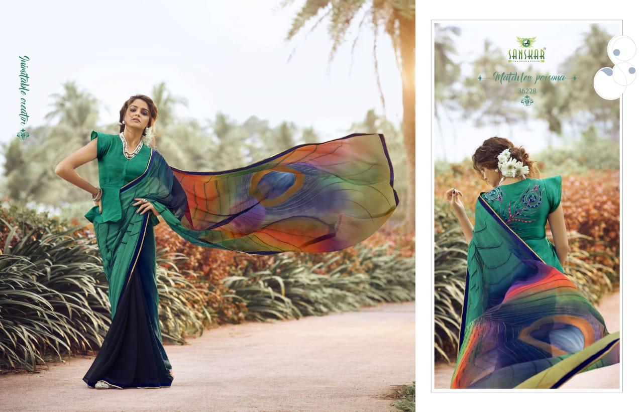 Sanskar Tex Prints Instagram Vol 3 Series 36223-36233 Pure Chiffron Saree
