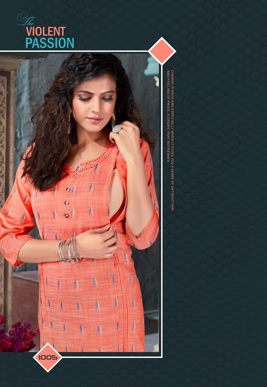 Feeding By Lilly Style Of India Ikkat Cotton Kurti With Feeding Zips And Mask Collection