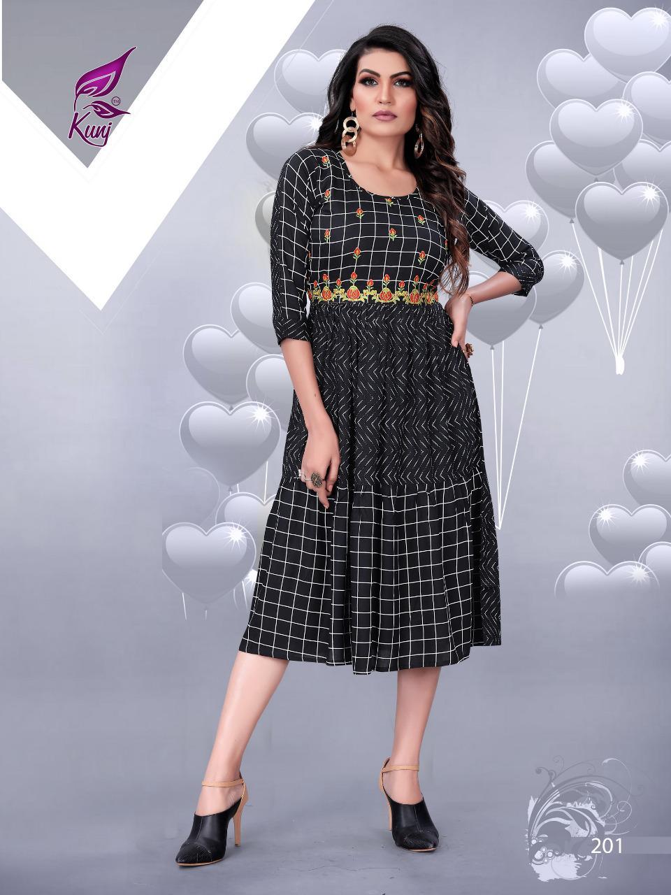 Kivi Vol 2 By Kunj Rayon Printed Short Gown Kurti Collection