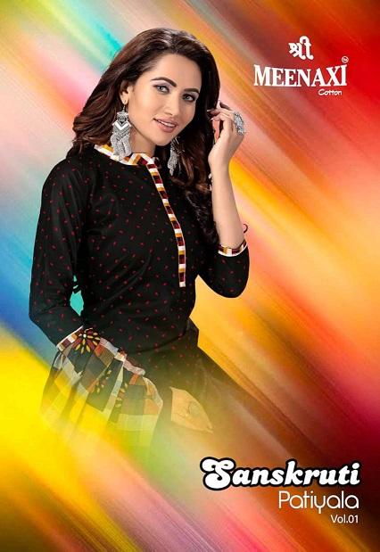 Meenaxi Sanskruti Vol 1 Readymade Patiyala Special Pure Cotton Suit