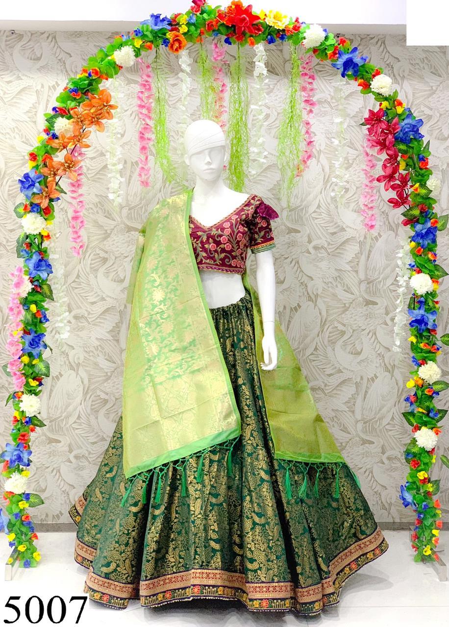 Peafowl Series 5007 Designer Banarasi Jacquard Lehenga