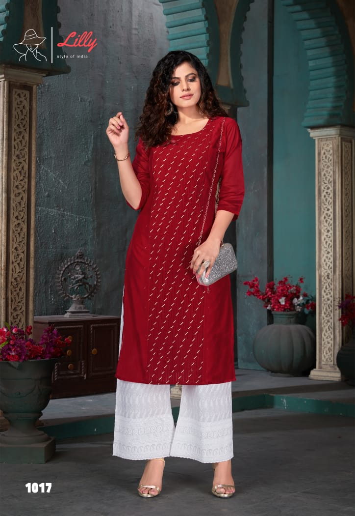 Lilly Style Of India Zubeda Chanderi Work Exclusive Kurti With Plazzo Set