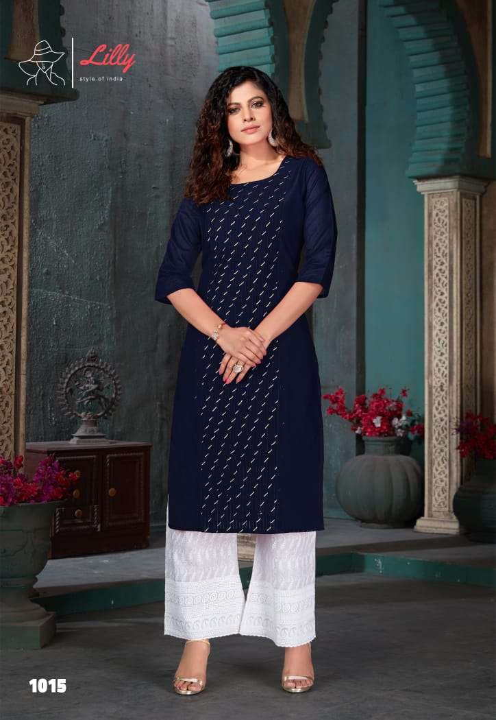Lilly Style Of India Zubeda Kurti With Lucknowi Work Plazzo Bottom Collection