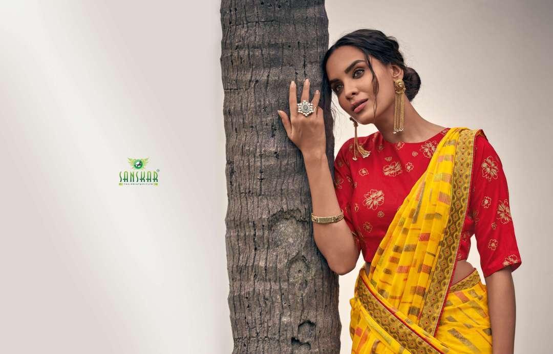 Rahi Vol 9 By Sanskar Tex Print Chiffon Brasso Printed Saree With Designer Blouse Concept