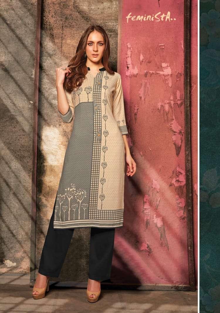 Feminista Florence Vol 3 Rayon Kurti With Cotton Pant Pair Collection