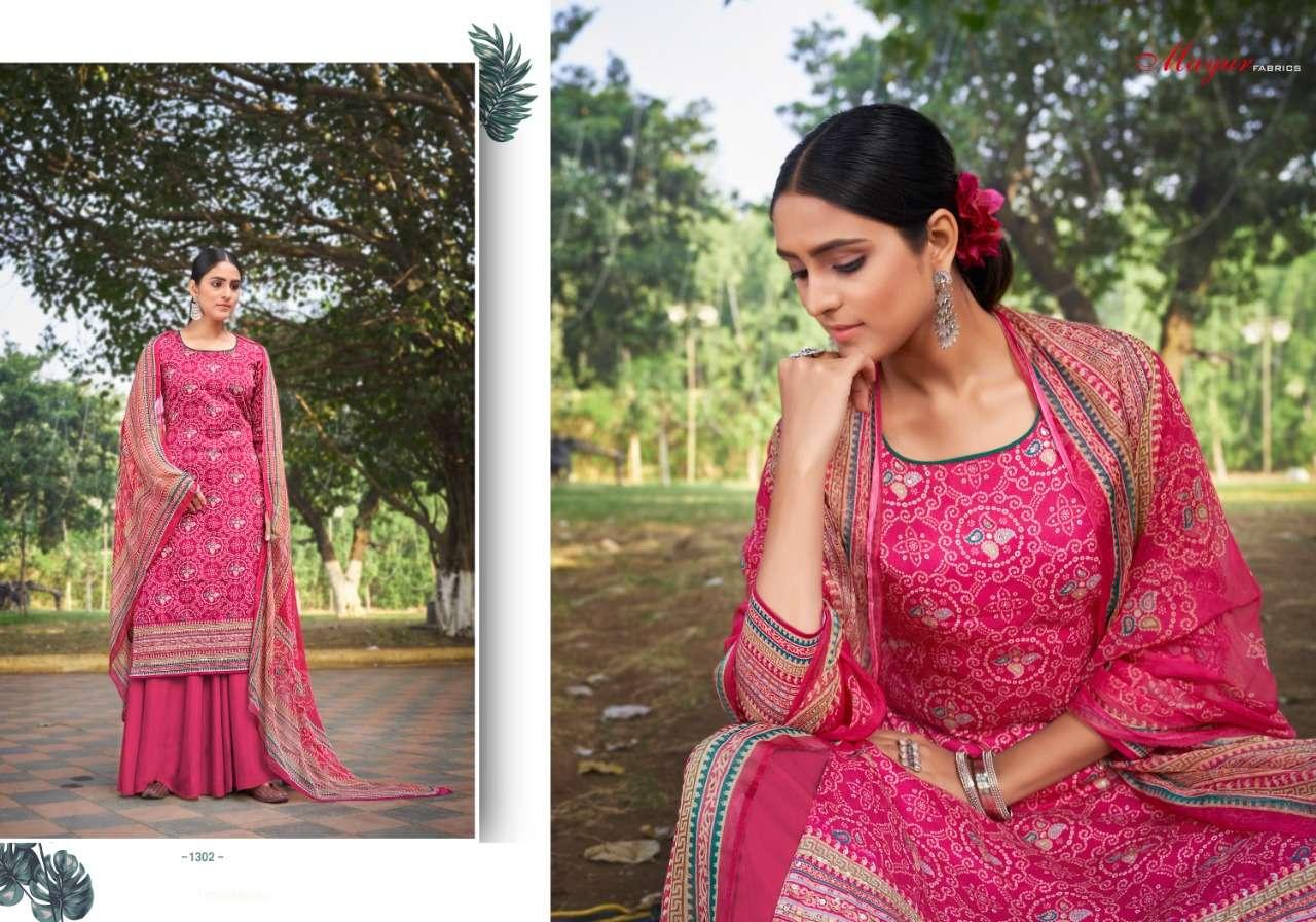Hansa Bandhani Jam Cotton Designer Dress Materials