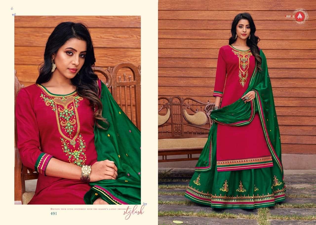 Triple Aaa Kalyani Jam Silk Embroidery Lehenga Style Salwar Kameez