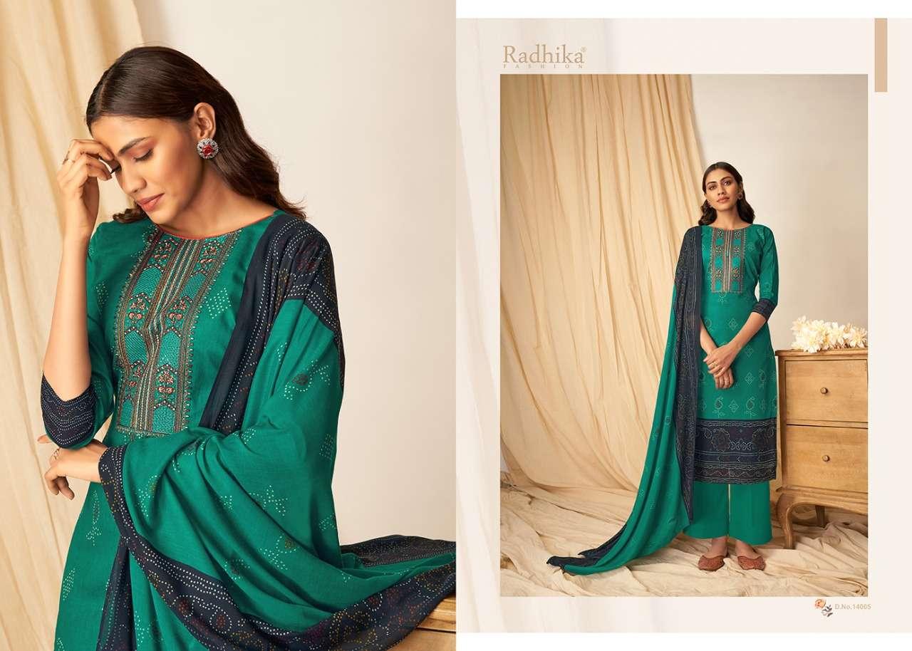 Azara Mussaret Vol 14 By Radhika Cambric Cotton Kashmiri Work Suits