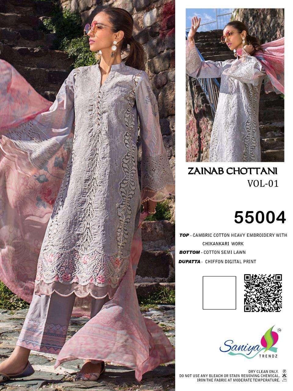 Zainab Chottani By Saniya Cambric Cotton Pakistani Dresses Supplier