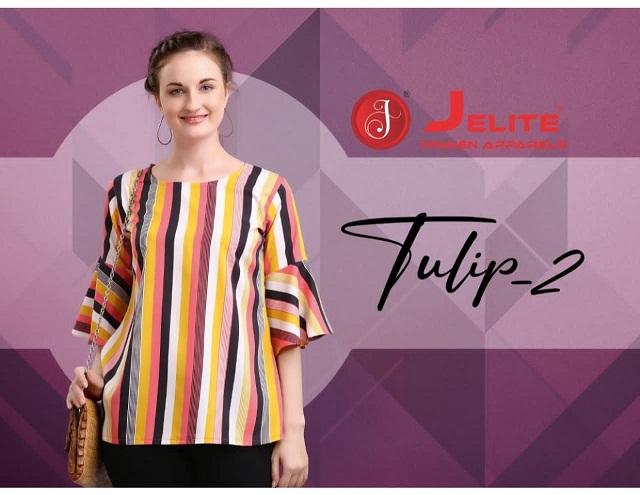 Je Tulip-2 Series 109-116 Polyster Printed Casual Wear Crape Top