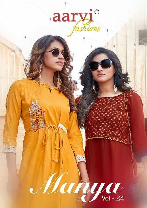 Aarvi Fashion Manya Vol-24 Series 4951-4958 Pure Cotton Rayon Kurti