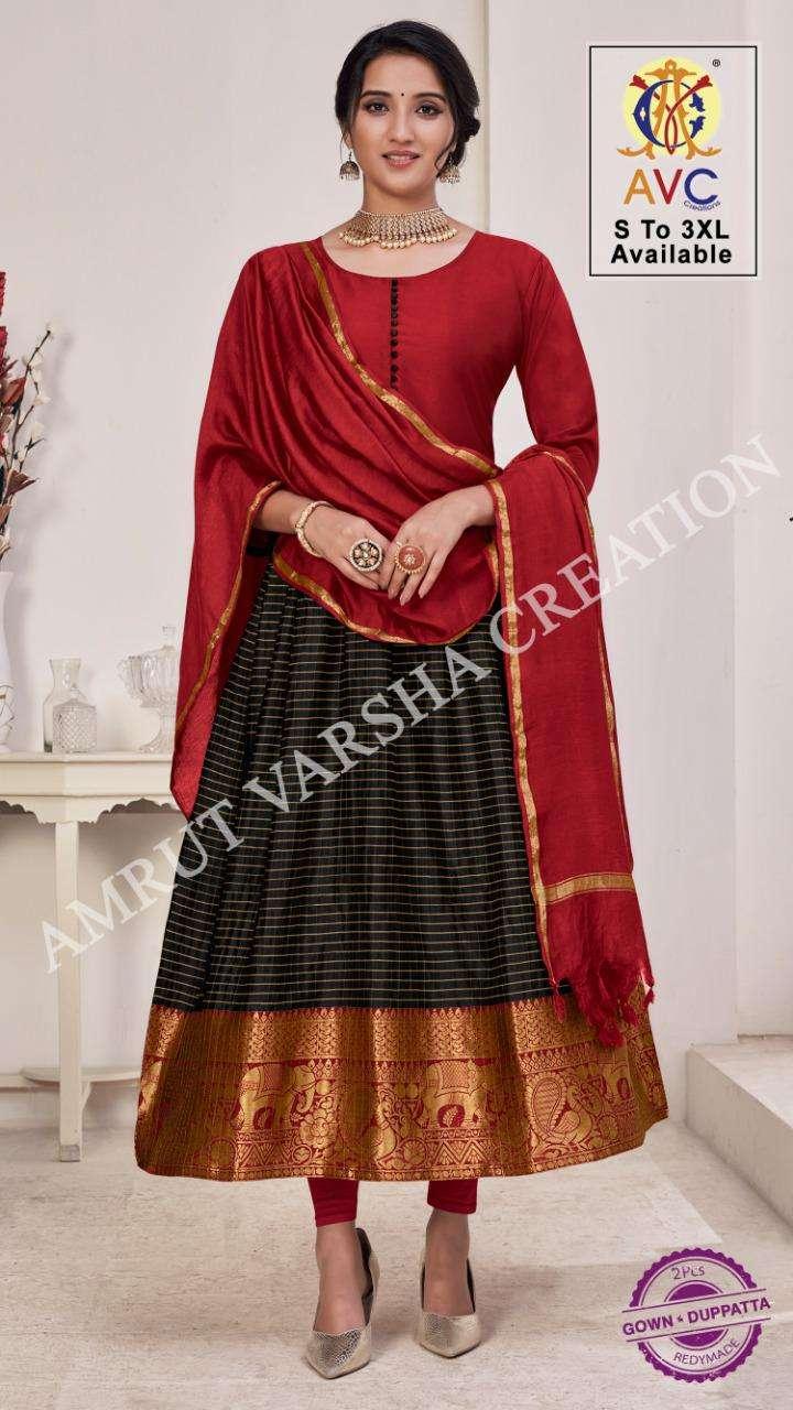 Avc Rai Patthu Series 1001-1008 Lichi Silk Jacquard Readymade Suit
