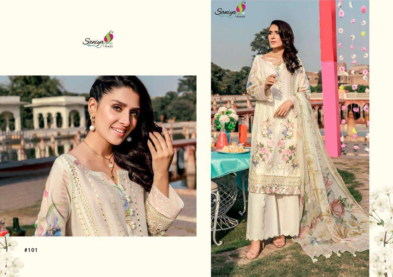 Saniya Trendz Rouche Vol-4 Series 1001-1004 Cambric Pakistani Suit