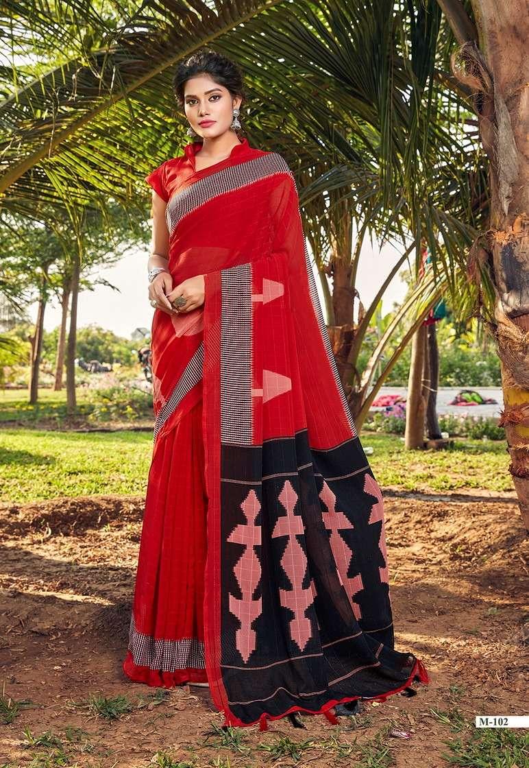 Vinamra Madhuri Silk Vol-1 Series 101-110 Marble Checks Printed Saree