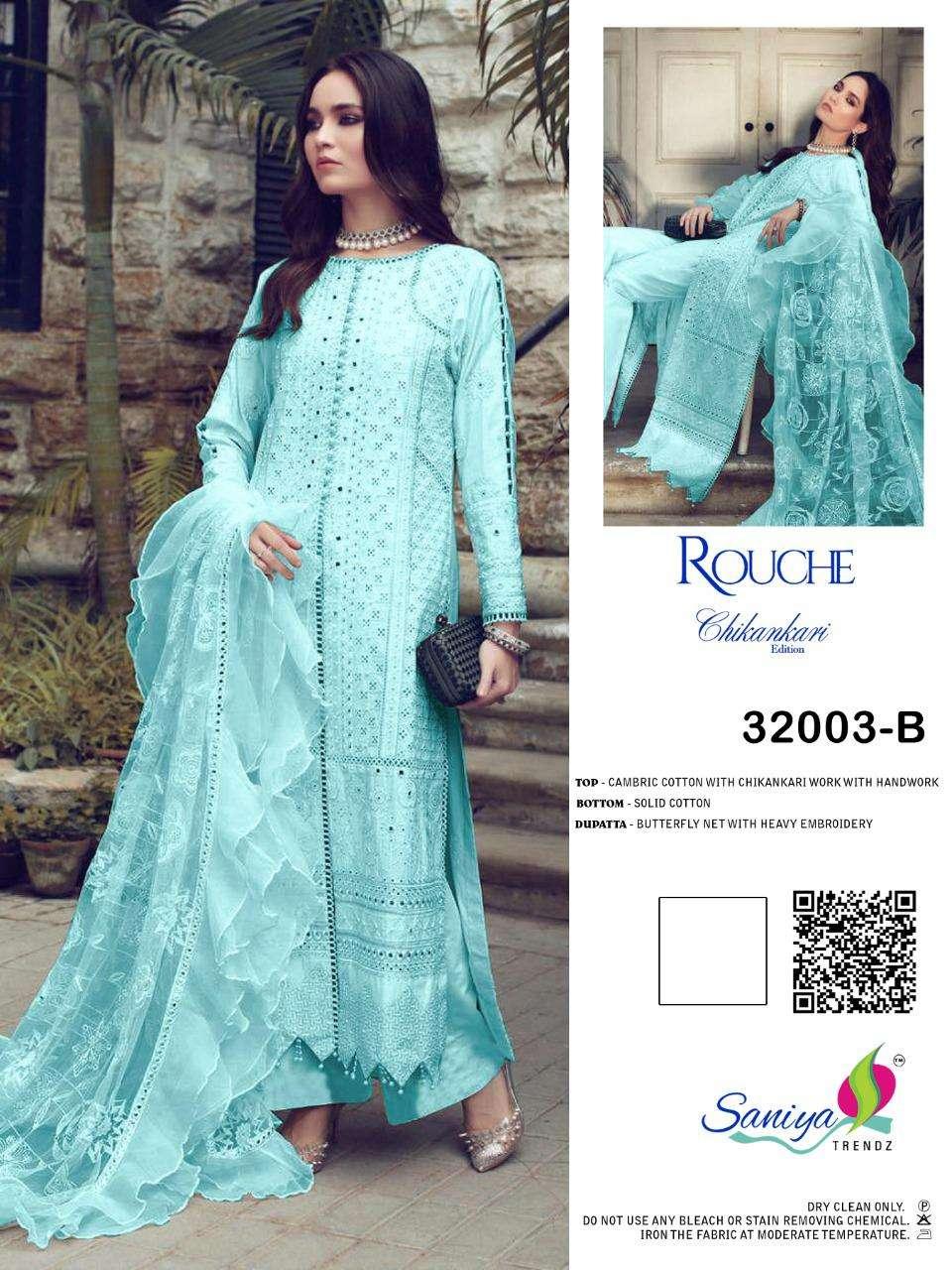 Saniya Trendz Rouch 32003 Colours Cambric Cotton Pakistani Dresses