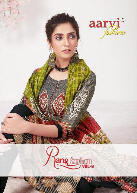 Aarvi Fashion Rang Resham Vol-9 Series 4981-4992 Pure Cotton Suit