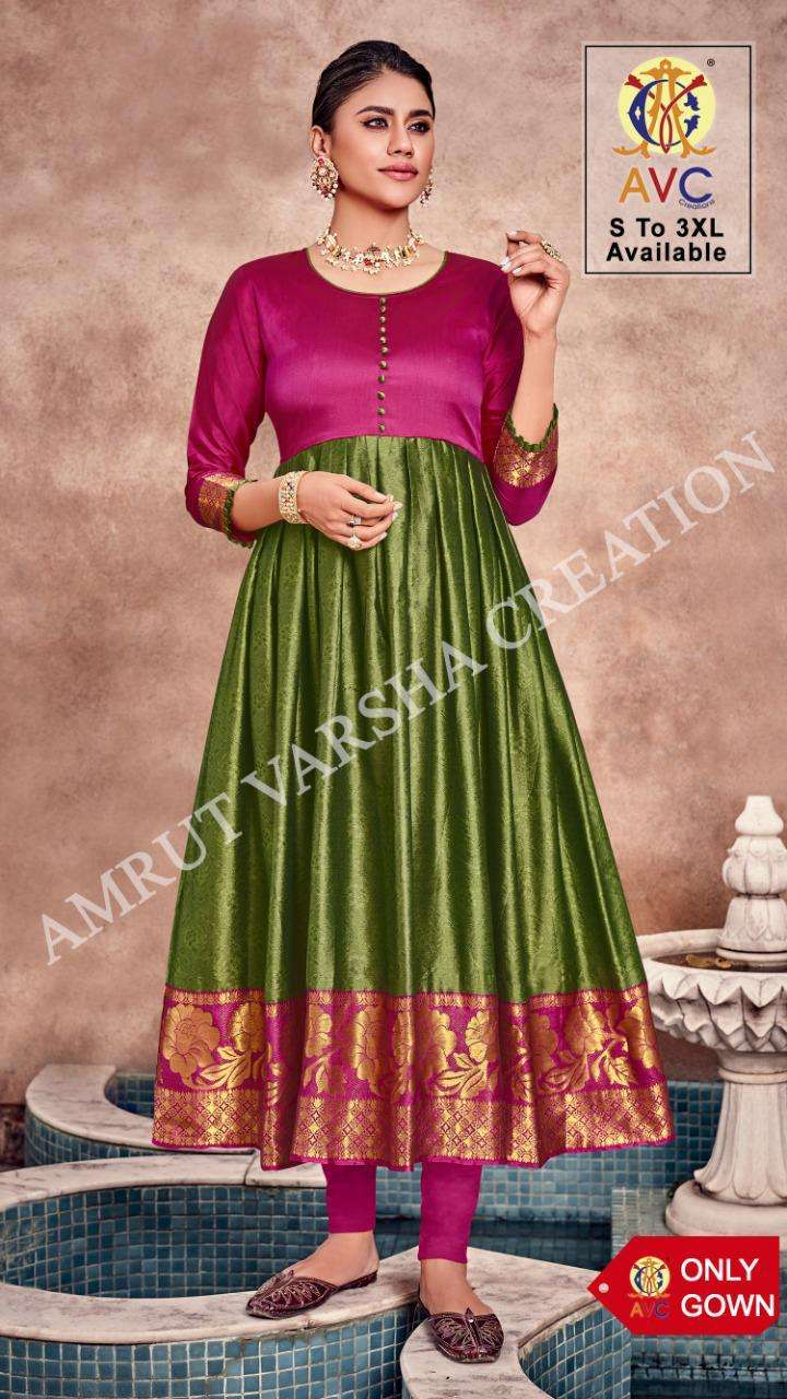Avc Jheel Series 401-408 Silk Jacquard Long Gown For Summer