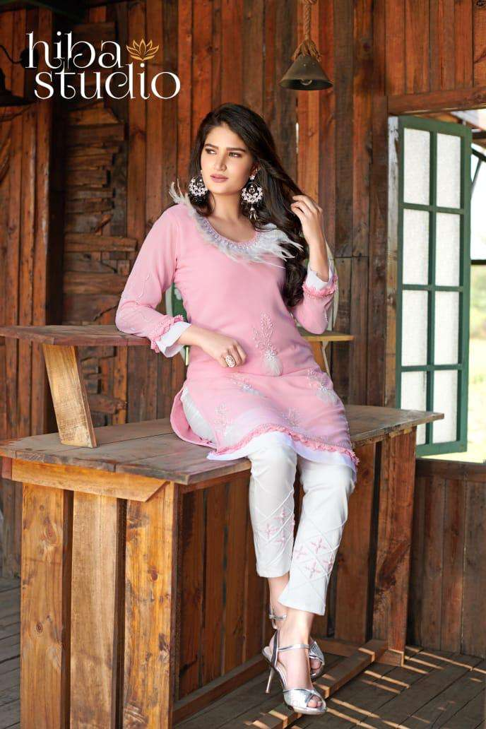 Lpc 36 By Hiba Studio Georgette Readymade Kurti With Pant Collection