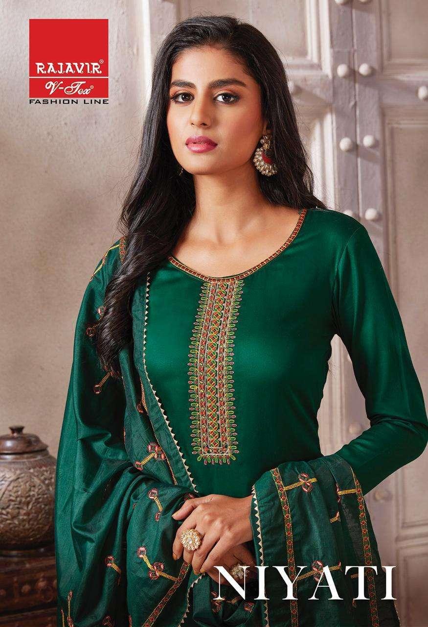 Rajavir Niyati Series 901-909 Pure Jam Satin With Embroidery Suit
