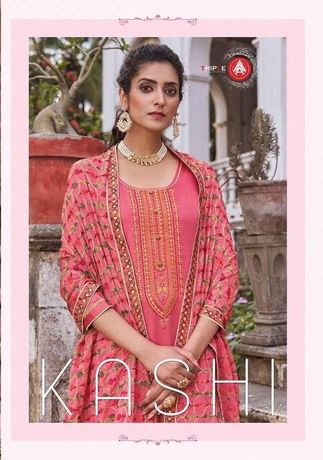 Triple Aaa Kashi Series 621-626 Jam Silk Embroidery Salwar Kameez