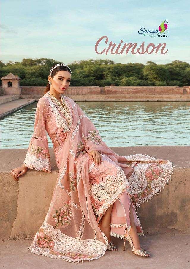 Saniya Crimson-21 Series 401-404 Cambric Chikankari Paksitani Dresses
