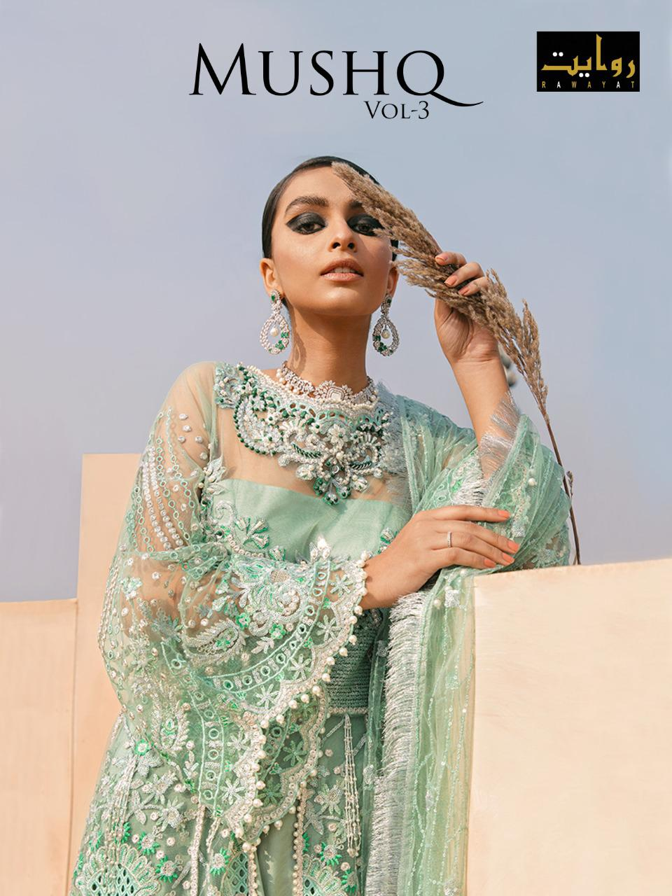Rawayat Mushq Vol-3 Series 12006-12010 Butterfly Net Georgette Suit