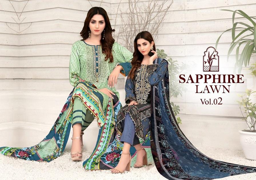 Sapphire Lawn Collection Vol-2 Series 2001-2010 Pure Lawn Suit