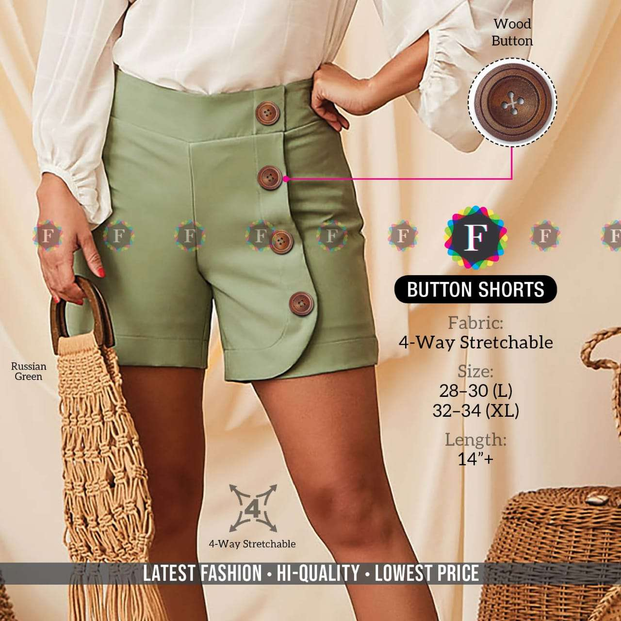 K4u Present Button Shorts Stretchable Western Girls Short Wear Collection