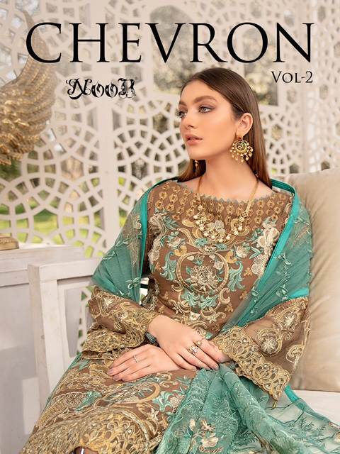 Noor Chevron Vol-2 Series 126-128 Georgette With Heavy Embroidery Suit