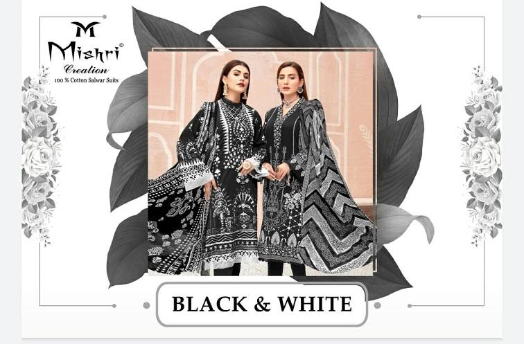 Mishri Creation Black & White Series 1001-1010 Cotton Print Suit