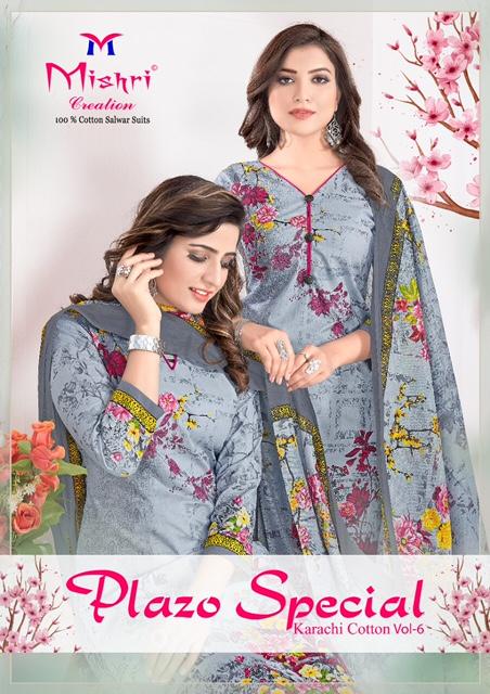 Mishri Creation Plazo Special Karachi Cotton Vol-6 Pure Cotton Suit