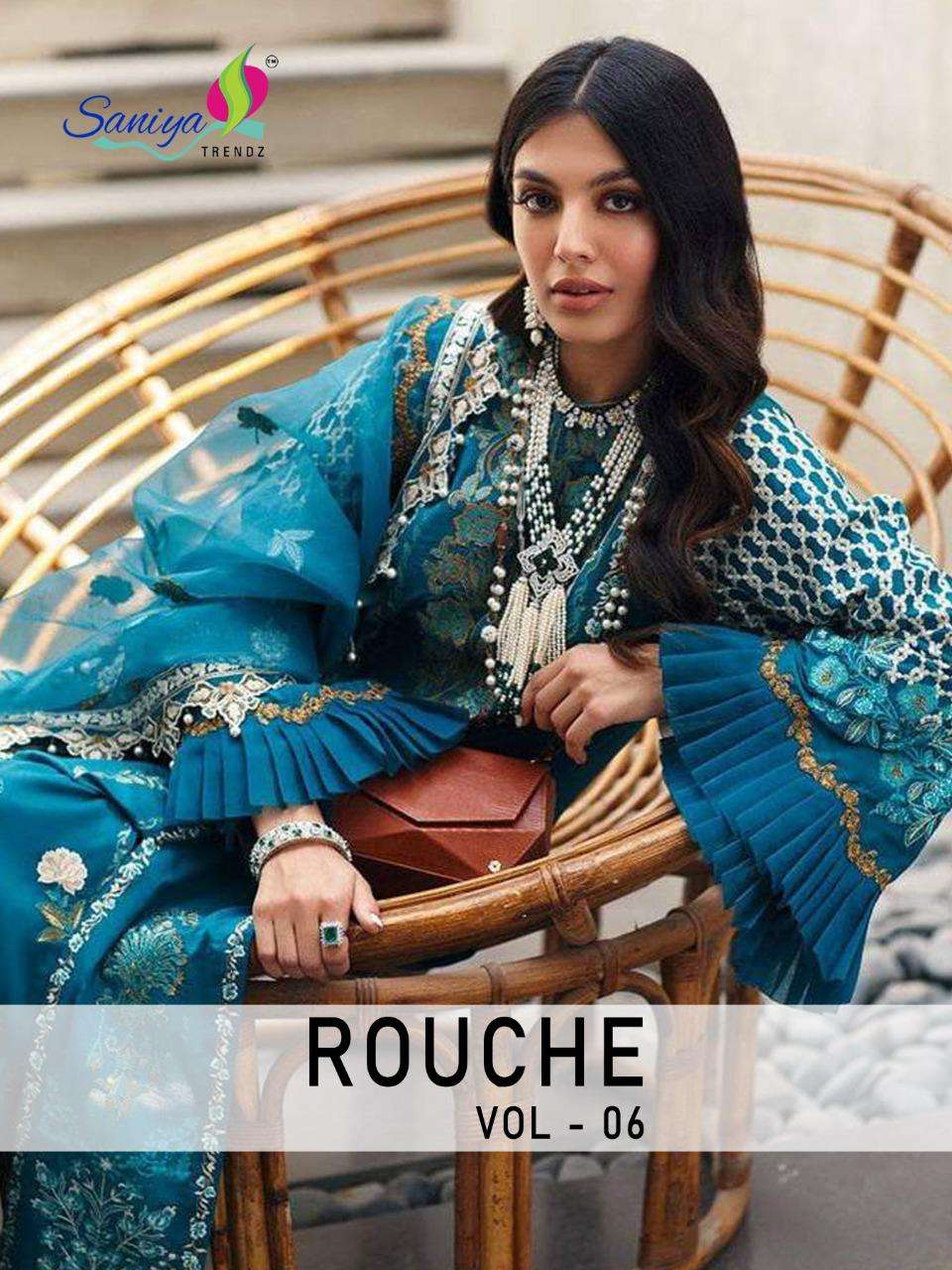 Rouche Vol 6 By Saniya Cambric Cotton Pakistani Dresses