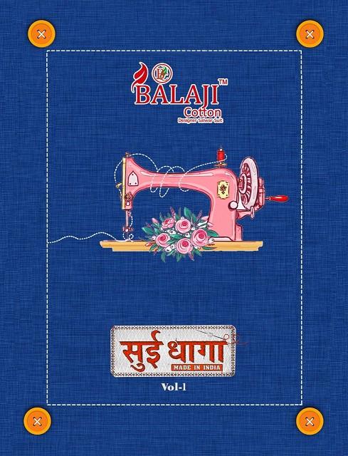 Balaji Sui Dhaga Series 1001-1012 Pure Cotton Unstitch Suit
