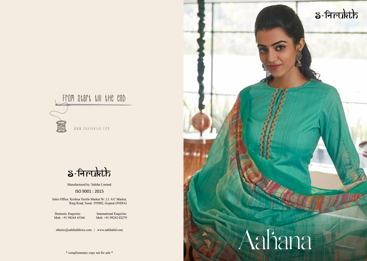 S-nirukth Aahana Series 673-693 Cotton Cambric Print Suit With Embroidery