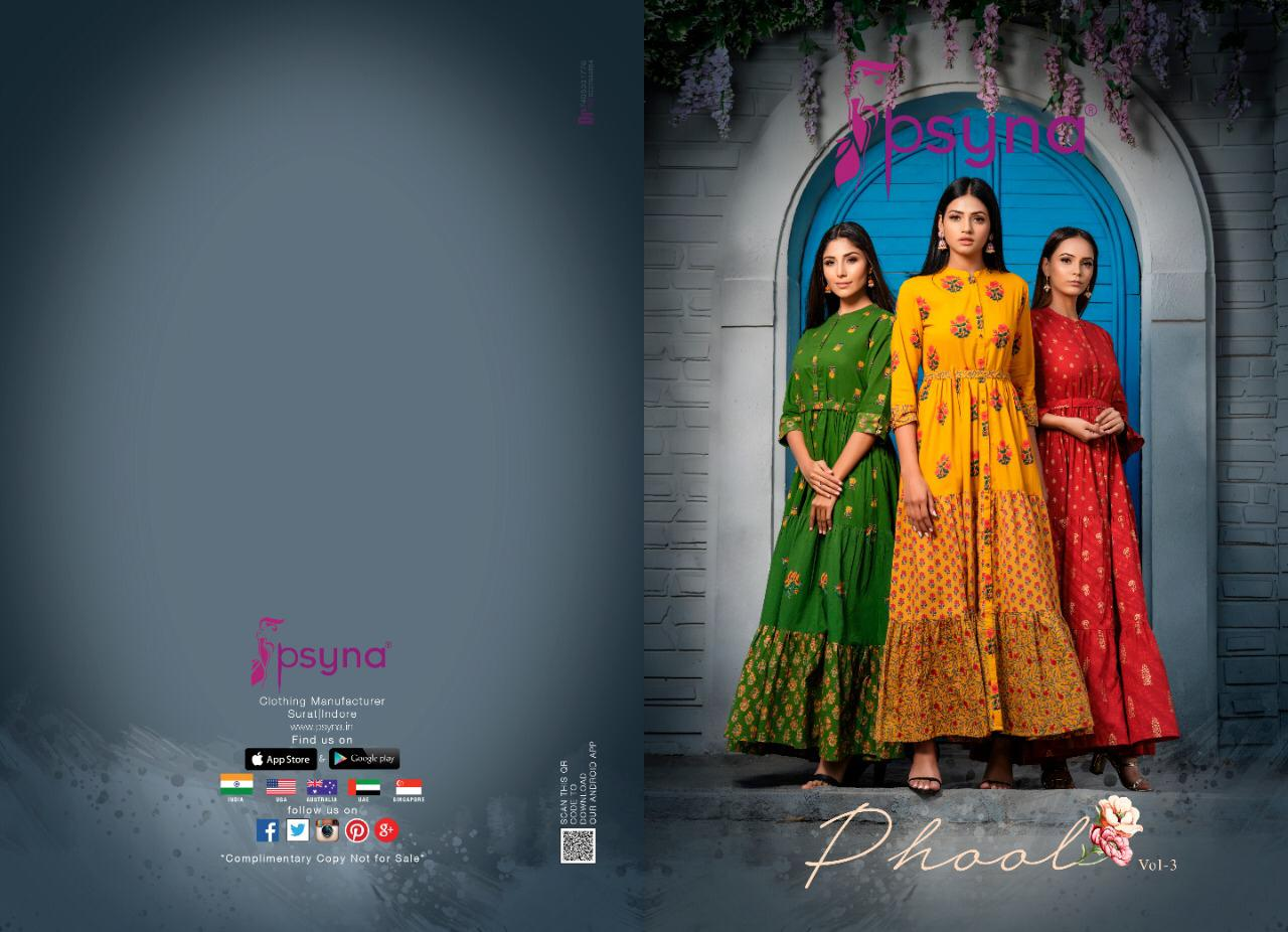 Psyna Phool Vol-3 Series 3001-3008 Cotton Cambric Kurti