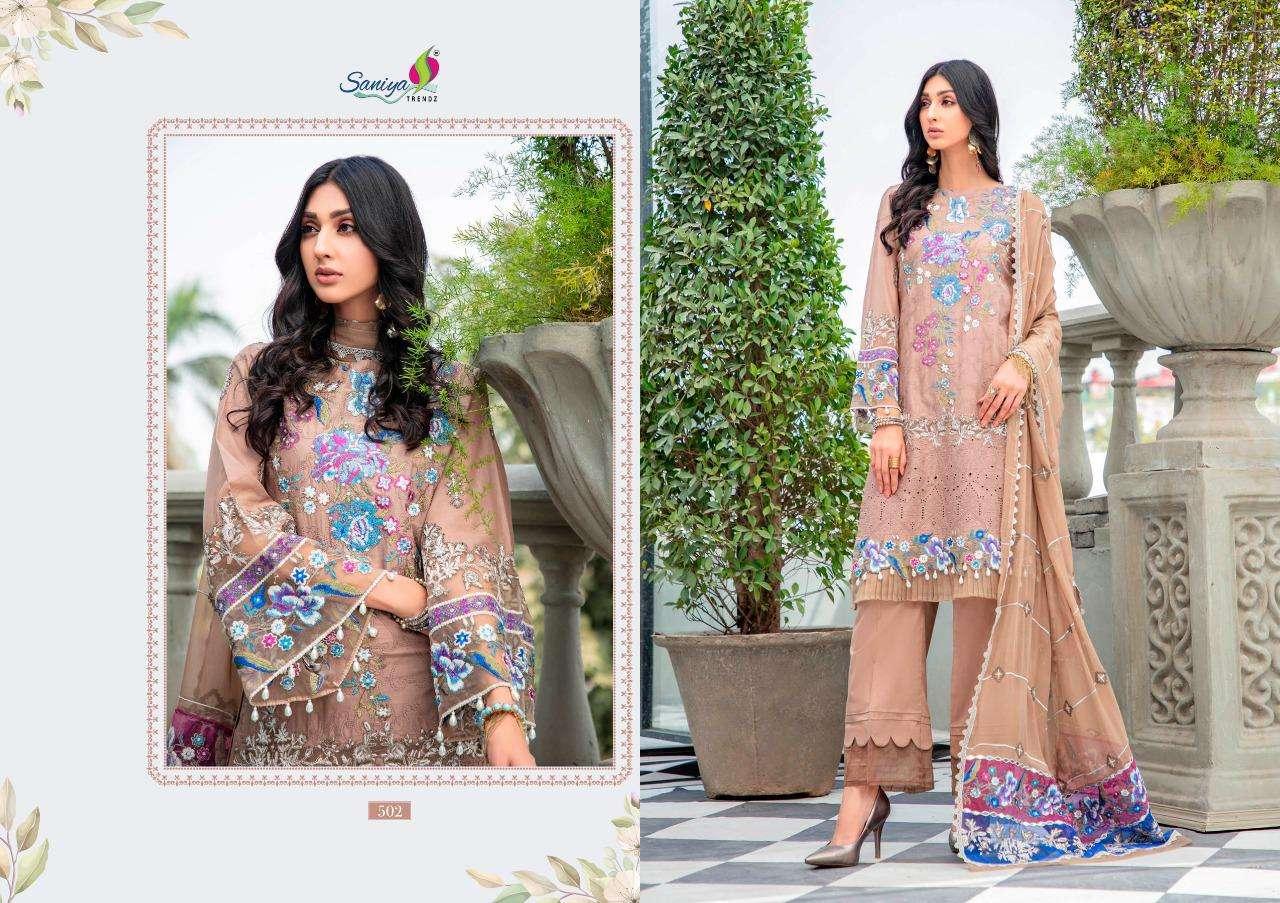 Saniya Trendz Adan Libas Schiffli Collection Series 501-505 Cambric Suit