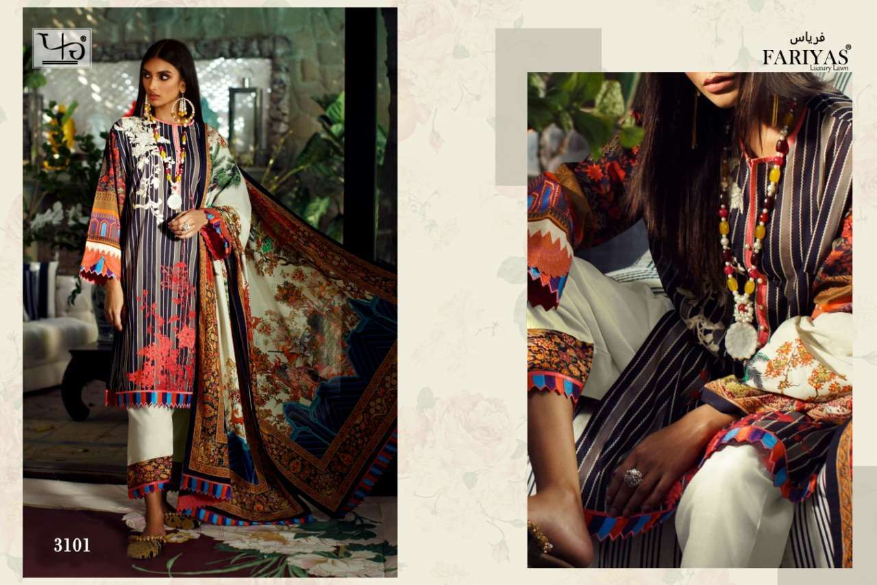 Fariyas Lawn Sana Safinaz Series 3101-3106 Pure Lawn Cotton Digital Suit