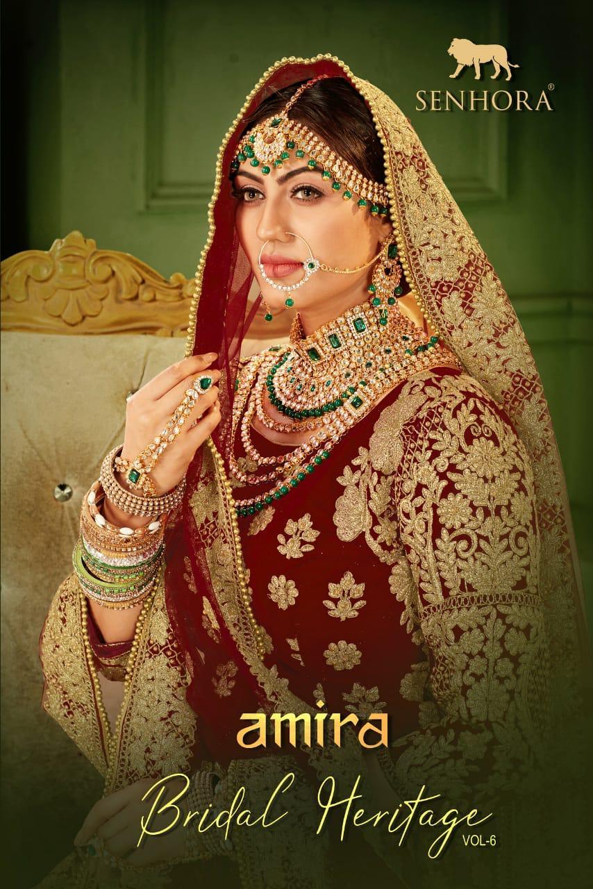 Senhora Dresses Amira Bridal Heritage Vol-6 9000 Heavy Velvet Lehenga
