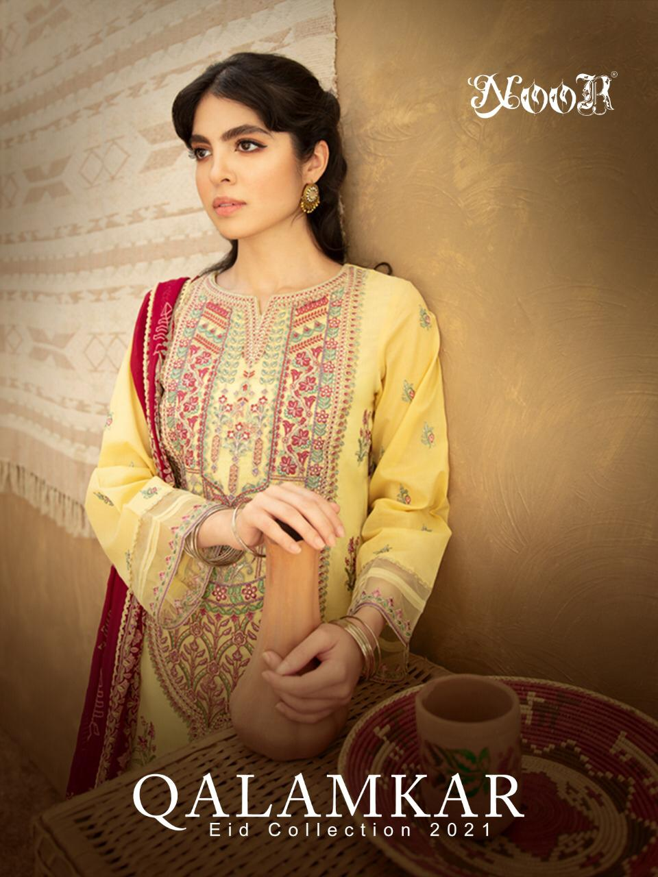 Noor Qalamkar Eid Collection Pure Cotton With Exclusive Self Embroidery Suit