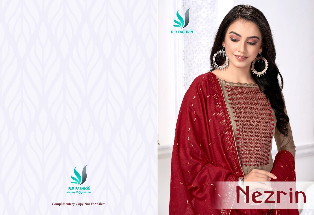 R R Fashion Nezrin Series 1001-1008 Dyebale Sequence Embroidery Suit