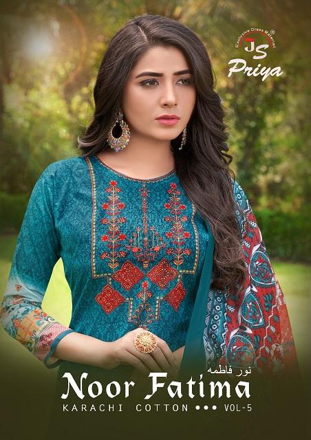 Js Priya Noor Fatima Vol-5 Series 5001-5010 Pure Cotton Suit