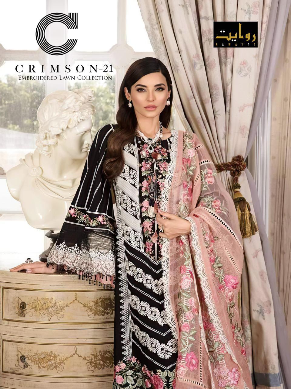 Rawayat Crimson Lawn Collection 2021 Series 009-010 Pure Cotton Suit