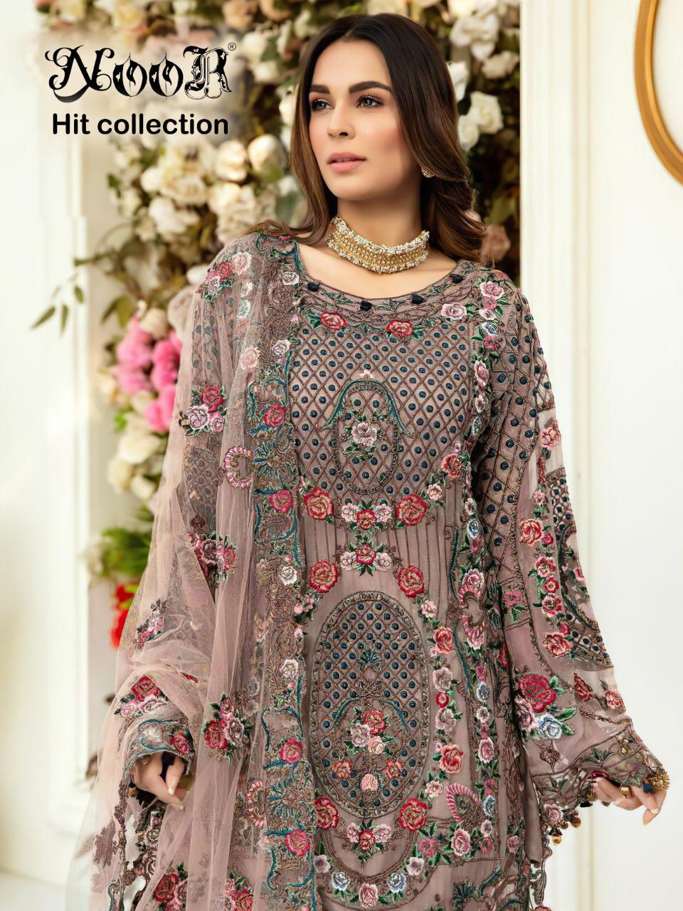 Noor Hit Collection 333 Net Embroidery With Hand Work Suit