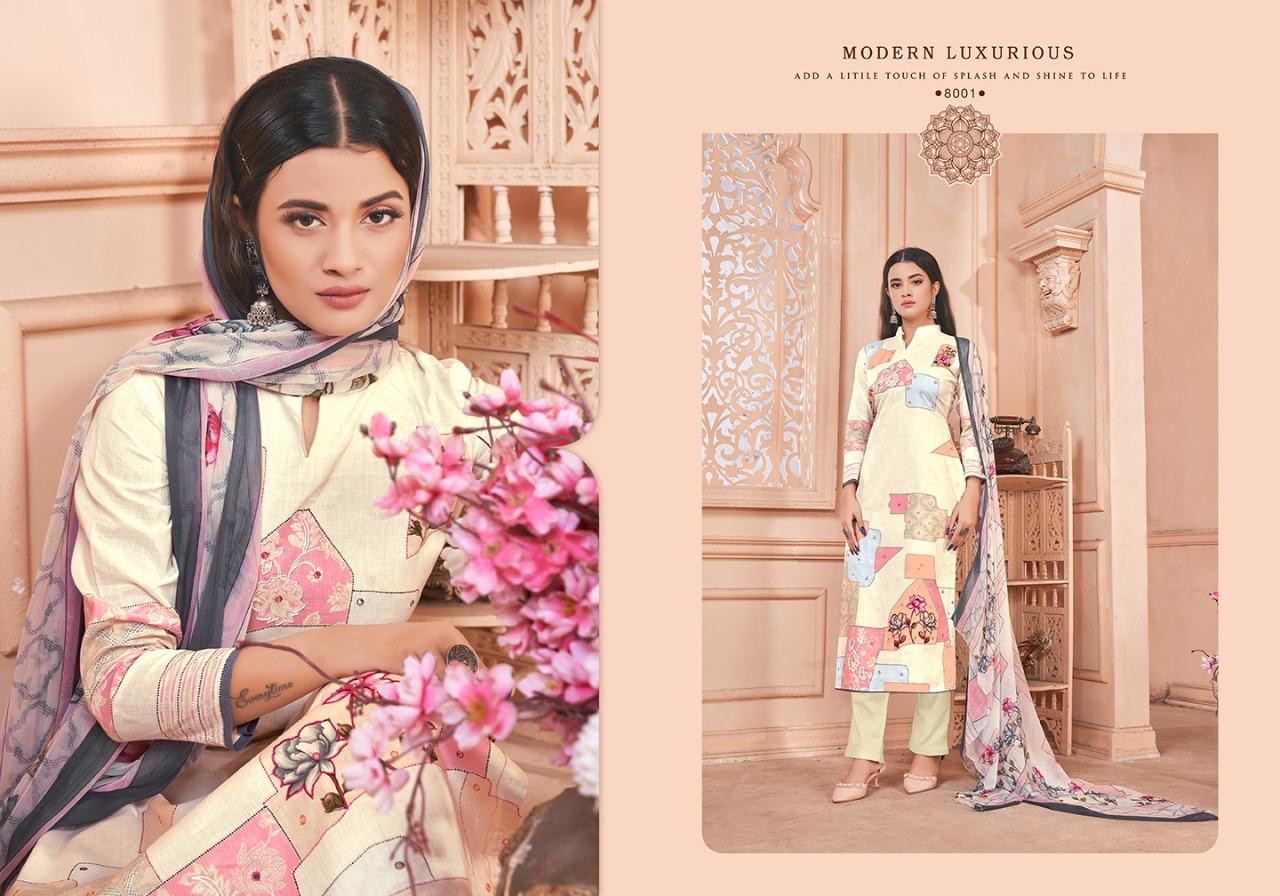 Femayraa Fashion Series 8001-8008 Cotton Digital Print Suit