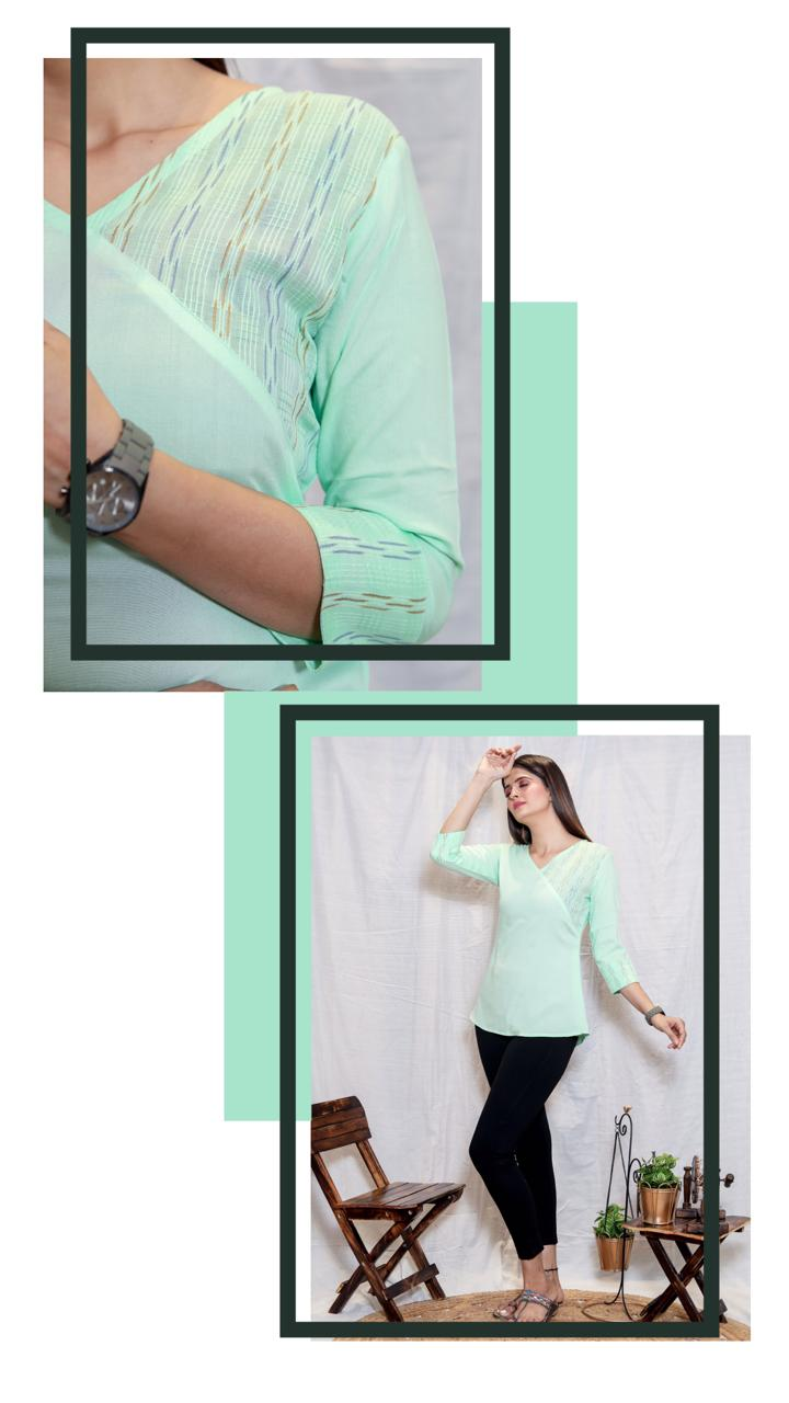 Sanado Tunic Love And Joy Rayon And Jaipur Printed Cotton Top