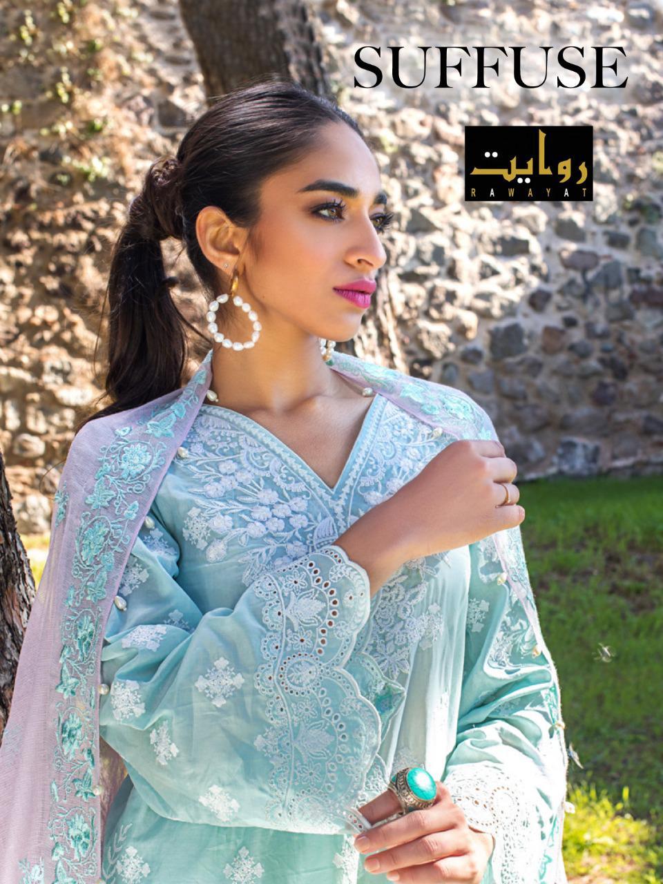 Rawayat Suffuse Lawn Collection 2021 Series 18000-18004 Pure Jam Suit