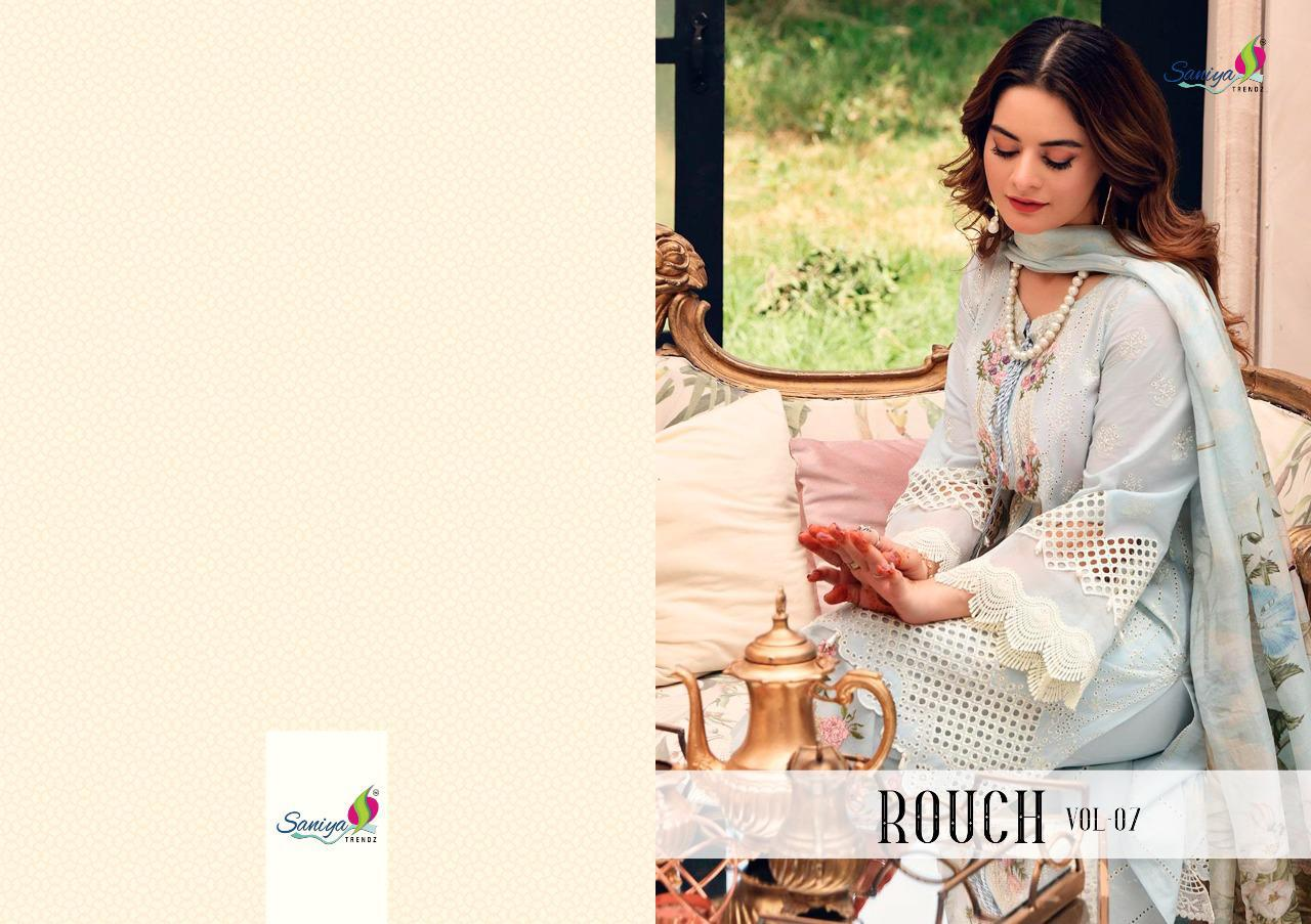 Saniya Trendz Rouch-7 Series 801-806 Pure Cambric Self Embroidered Suit