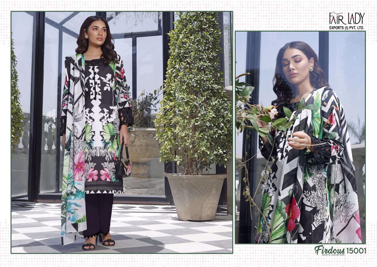 Fairlady Firdous Digital Collection Series 15001-15006 Lawn Cotton Suit